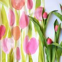 Rózsaszín, barack tulipános selyemkendő, Ruha, divat, cipő, Kendő, sál, sapka, kesztyű, Kendő, Halványrózsaszín, barackrózsaszín, pasztellzöld színekben festettem meg ezt a romantikus hangulatú s..., Meska