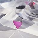 Geometrikus szürke selyemkendő, Ruha, divat, cipő, Kendő, sál, sapka, kesztyű, Kendő, Divatos színek trendy geometrikus minta került erre a selyemkendőre. A szürke árnyalatai között felb..., Meska