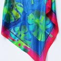 Hatalmas színes pálma mintás selyemkendő, Ruha, divat, cipő, Képzőművészet, Kendő, sál, sapka, kesztyű, Kendő, Különleges mintájú és színű ez a selyemkendő. Vibráló kontrasztok, hangsúlyos színek buja hangulatot..., Meska