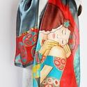 A csók Klimt képe inspirálta selyemsál, Ruha, divat, cipő, Kendő, sál, sapka, kesztyű, Sál, Kendő, Gustav Klimt a szecesszió festőjének képe inspirálta ezt a selyemstólát. Színei a szürke, bordó, tür..., Meska
