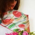 Örök tavasz tulipános selyemkendő, Ruha, divat, cipő, Kendő, sál, sapka, kesztyű, Kendő, Tulipánokban pompázó lehelletkönnyű selyemkendő. Élénk rózsaszín, pasztellszürke, pasztellzöldszínei..., Meska