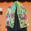 """""""Pipacs virágos tavaszi rét """" elegáns selyemsál, Dekoráció, Ruha, divat, cipő, Kendő, sál, sapka, kesztyű, Selyemfestés, Egyedi tervezésű ,különleges színvilágú, nagyon vidám selyemsál. Többféle színű ruhához viselhető. ..., Meska"""