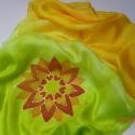 Mandalás selyemsál, Ruha, divat, cipő, Kendő, sál, sapka, kesztyű, Sál, Selyemfestés, anyaga: 100 % selyem méret: 150*40cm  színei: lime zöld, pasztell sárga, kiwi zöld,narancs  Szép ma..., Meska