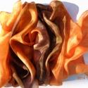 Csoki - narancs selyemsál, Ruha, divat, cipő, Kendő, sál, sapka, kesztyű, Sál, Selyemfestés, anyaga: 100 % hernyóselyem mérete: 40*150 cm Kézzel festett selyemsál, gőzfixálós festékkel készült..., Meska
