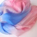 Púder rózsaszín - pasztell kék selyemsál, Ruha, divat, cipő, Kendő, sál, sapka, kesztyű, Sál, Kendő, anyaga:100% selyem mérete:150*40 cm Szelíd pasztellszínek alkotják a lágy finom színvilágot a..., Meska