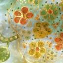 Aranyalma mintás selyemkendő, Ruha, divat, cipő, Kendő, sál, sapka, kesztyű, Kendő, Selyemfestés, anyaga: 100% selyem mérete : 74*74 cm Alapszínei : pasztell barackszín , bézs,halvány mohazöld, mel..., Meska