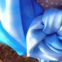 Kék lagúna selyemkendő, Ruha, divat, cipő, Kendő, sál, sapka, kesztyű, Kendő, Selyemfestés, anyaga : 100 % selyem ponge 0,8  mérete: 90*90 cm Színvilága : kék különböző árnyalatai. Kifinomult..., Meska