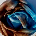 Barna -  türkiz selyemsál, Ruha, divat, cipő, Kendő, sál, sapka, kesztyű, Sál, anyaga: 100% hernyóselyem mérete:40*160 cm Színvilága: csoki barna,konyak barna, karamell, türk..., Meska