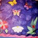 Kislányoknak pillangós selyemkendő, Ruha, divat, cipő, Gyerekruha, Gyerek (4-10 év), Kendő, sál, sapka, kesztyű, Selyemfestés, méret : 45*45 cm, 55*55 cm, 74*74 cm, 90*90 cm anyaga : 100% selyem vidám bájos kislányos minta egy..., Meska