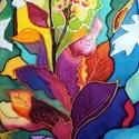 Trópusi virágok  -  selyemkép, Dekoráció, Képzőművészet, Festmény, Festmény vegyes technika, Selyemfestés, Festett tárgyak, mérete: 35*55 cm anyaga : 100 %selyem Egyedi tervezésű, különleges színvilággal. Gyönyörű színeivel..., Meska