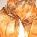 Csoki-narancs selyemsál aranyszínű mintával, Ruha, divat, cipő, Kendő, sál, sapka, kesztyű, Kendő, Sál, Selyemfestés, mérete:150*40 cm anyaga: 100 % selyem arany kontúrral megrajzolt motívumokkal díszítve , ( földanya..., Meska