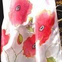 Dekoratív pipacs virágos selyemkendő, Ruha, divat, cipő, Kendő, sál, sapka, kesztyű, Sál, Selyemfestés, Festett tárgyak, Egyedi tervezésű, kézzel festett  /nem sablonnal / nagyon dekoratív selyemsál. Különleges festési t..., Meska
