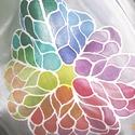 Mandalás selyemsál, Képzőművészet, Mindenmás, anyaga: 100% hernyóselyem mérete: 150*40 cm Egyedi tervezésű, kézzel festett motívummal. Mutat..., Meska