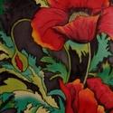 Gyönyörű pipacsos selyemkép, Otthon, lakberendezés, Képzőművészet, Festmény, Falikép, mérete: 40*50 cm anyaga: selyem dekoratív selyemkép, a lakás dísze., Meska