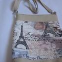 Párizsi táska II., Táska, Válltáska, oldaltáska, Varrás, Ezt a táskát textil és textilbőr kombinációjával készítettem. Méretei: szélesség 30 cm, magasság 36..., Meska