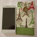Párizs mintás mobiltok, zöld szegéllyel, Táska, Pénztárca, tok, tárca, Mobiltok, Szemüvegtartó, A mobiltok Eiffel-torony mintás pamut anyagból készült, vetex-szel bélelve, pamutvászon bélé..., Meska