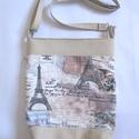 Párizsi táska, Táska, Válltáska, oldaltáska, Anyák napja, Varrás, Ezt a táskát textil és textilbőr kombinációjával készítettem. Méretei: szélesség 30 cm, magasság 36..., Meska