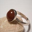 Karneolgyűrű, Ékszer, óra, Gyűrű, Ékszerkészítés, Ötvös, 1cm-es kerek kőhöz készítettem a gyűrűt,925-ös ezüstből.A kért méretben készítem el.Fémjelzett éksz..., Meska