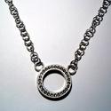 Pandora nyaklánc ezüstből, Ékszer, óra, Nyaklánc, Ékszerkészítés, Ötvös, A nyakláncot 925-ös ezüstből készítettem.Swarovski kövekkel raktam ki a középrészt,ami 27 mm-es kör..., Meska