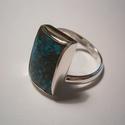 Krizokolla ezüstgyűrű, Ékszer, óra, Gyűrű, Világoskék-barna színű a kő.12x18mm-es a kő nagysága.A gyűrű mérte 57-es.925-ös ezüstbő..., Meska