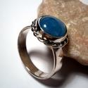AKVAMARIN köves ezüstgyűrű, Ékszer, óra, Gyűrű, Ékszerkészítés, Ötvös, A kő 1cm-es világoskék színű,foglalással rögzített A gyűrű mérete:56-os Felülete fényes 925-ös ezüs..., Meska