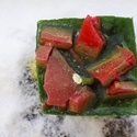 Tömb gyertya görögdinnye illattal 4., Dekoráció, Otthon, lakberendezés, Gyertya, mécses, gyertyatartó, Görögdinnye illatú,2 színű,nagyobb méretű tömbgyertya,súlya:353 gramm,8x7x7cm., Meska