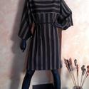 Japán ruha, Ruha, divat, cipő, Női ruha, Ruha, Varrás, Pazar vonalak, a csíkos újraértelmezése az időtlen légiességgel keveredve.  Méret: M (38), Meska