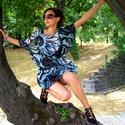 Blue Charm - Hernyóselyem ruha, Ruha, divat, cipő, Női ruha, Ruha, Dinamikus minta, élénk színek, izgalmas megjelenés. Hernyóselyem, mely az anyagok királynője,..., Meska