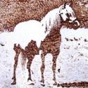 """""""Ló"""" - hőrajz merített papírra, Képzőművészet, Dekoráció, Grafika, Kép, Fotó, grafika, rajz, illusztráció, Merített papírra készített hőrajz egy szabadban álldogáló lóról.  (A """"hőrajz"""" kifejezés szerintem f..., Meska"""