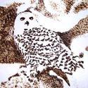 """""""Hóbagoly"""" - hőrajz merített papíron, Képzőművészet, Grafika, Rajz, Egy hóbagoly rajza, amelyet kézzel merített papírra készítette hőrajz (pirográfia) techniká..., Meska"""
