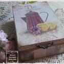 Teás vintage doboz, kannával, citrommal, Otthon, lakberendezés, Tárolóeszköz, Doboz, Festett tárgyak, Decoupage, szalvétatechnika, 6 rekeszes teás doboz vagy kedvenc receptjeidet tarthatod benne ha kiveszed a rekeszeket, Mérete: 1..., Meska