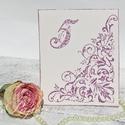 Vintage asztalszám féloldalas mintával, Dekoráció, Esküvő, Ünnepi dekoráció, Esküvői dekoráció, Egyedi készítésű asztalszám, melyet strukturált felületű kartonra nyomdázással (nem nyomtatással) ké..., Meska