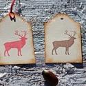 """""""Téli szarvas"""" Karácsonyi ajándékkísérő, Dekoráció, Karácsonyi, adventi apróságok, Ajándékkísérő, képeslap, Karácsonyi dekoráció, Egyedi készítésű karácsonyi ajándékkísérő, melyet strukturált felületű kartonra nyomdázással készíte..., Meska"""