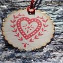"""""""Karácsonyi szív"""" Karácsonyi ajándékkísérő, Dekoráció, Karácsonyi, adventi apróságok, Ajándékkísérő, képeslap, Karácsonyi dekoráció, Egyedi készítésű karácsonyi ajándékkísérő, melyet strukturált felületű kartonra nyomdázással készíte..., Meska"""