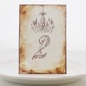 Vintage csilláros asztalszám, Esküvő, Esküvői dekoráció, Meghívó, ültetőkártya, köszönőajándék, Papírművészet, Egyedi készítésű asztalszám, melyet strukturált felületű kartonra nyomdázással (nem nyomtatással) k..., Meska