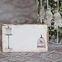 Kalitkás ültetőkártya, Esküvő, Esküvői dekoráció, Meghívó, ültetőkártya, köszönőajándék, Egyedi készítésű ültetőkártya, melyet strukturált felületű kartonra nyomdázással (nem nyomtatással) ..., Meska