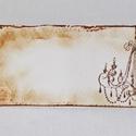 Vintage csilláros ültetőkártya, Esküvő, Esküvői dekoráció, Meghívó, ültetőkártya, köszönőajándék, Egyedi készítésű ültetőkártya, melyet strukturált felületű kartonra nyomdázással (nem nyomtatással) ..., Meska