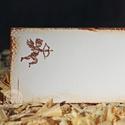"""""""Cupido"""" ültetőkártya, Esküvő, Esküvői dekoráció, Meghívó, ültetőkártya, köszönőajándék, Egyedi készítésű ültetőkártya, melyet strukturált felületű kartonra nyomdázással (nem nyomtatással) ..., Meska"""
