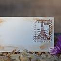 """""""Vintage Párizs"""" ültetőkártya, Esküvő, Esküvői dekoráció, Meghívó, ültetőkártya, köszönőajándék, Egyedi készítésű ültetőkártya, melyet strukturált felületű kartonra nyomdázással (nem nyomtatással) ..., Meska"""