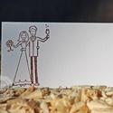 """""""Nászpár"""" ültetőkártya, Esküvő, Esküvői dekoráció, Meghívó, ültetőkártya, köszönőajándék, Papírművészet, Egyedi készítésű ültetőkártya, melyet strukturált felületű kartonra nyomdázással (nem nyomtatással)..., Meska"""
