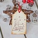 """""""Karácsonyi templom"""" Karácsonyi ajándékkísérő, Dekoráció, Karácsonyi, adventi apróságok, Ajándékkísérő, képeslap, Karácsonyi dekoráció, Egyedi készítésű karácsonyi ajándékkísérő, melyet strukturált felületű kartonra nyomdázással készíte..., Meska"""