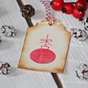 """""""Karácsonyi gömb"""" karácsonyi ajándékkísérő, Dekoráció, Karácsonyi, adventi apróságok, Ajándékkísérő, képeslap, Karácsonyi dekoráció, Egyedi készítésű karácsonyi ajándékkísérő, melyet strukturált felületű kartonra nyomdázással készíte..., Meska"""