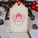 """""""Angyalka"""" Karácsonyi ajándékkísérő, Dekoráció, Karácsonyi, adventi apróságok, Ajándékkísérő, képeslap, Karácsonyi dekoráció, Egyedi készítésű karácsonyi ajándékkísérő, melyet strukturált felületű kartonra nyomdázással készíte..., Meska"""