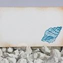 """""""Vintage kagyló"""" ültetőkártya, Esküvő, Esküvői dekoráció, Meghívó, ültetőkártya, köszönőajándék, Egyedi készítésű ültetőkártya, melyet strukturált felületű kartonra nyomdázással (nem nyomtatással) ..., Meska"""