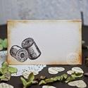 """""""Régi cérna"""" ültetőkártya, Esküvő, Esküvői dekoráció, Meghívó, ültetőkártya, köszönőajándék, Egyedi készítésű ültetőkártya, melyet strukturált felületű kartonra nyomdázással (nem nyomtatással) ..., Meska"""