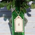 Antik címke asztalszám, Esküvő, Esküvői dekoráció, Meghívó, ültetőkártya, köszönőajándék, Egyedi készítésű asztalszám, melyet strukturált felületű kartonra nyomdázással (nem nyomtatással) ké..., Meska