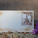 """""""Párizs"""" ültetőkártya, Esküvő, Esküvői dekoráció, Meghívó, ültetőkártya, köszönőajándék, Egyedi készítésű ültetőkártya, melyet strukturált felületű kartonra nyomdázással (nem nyomtatással) ..., Meska"""