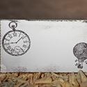 """""""Óra és hőlégballon"""" ültetőkártya, Esküvő, Esküvői dekoráció, Meghívó, ültetőkártya, köszönőajándék, Egyedi készítésű ültetőkártya, melyet strukturált felületű kartonra nyomdázással (nem nyomtatással) ..., Meska"""