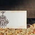 """""""Antik csillár"""" ültetőkártya, Esküvő, Esküvői dekoráció, Meghívó, ültetőkártya, köszönőajándék, Egyedi készítésű ültetőkártya, melyet strukturált felületű kartonra nyomdázással (nem nyomtatással) ..., Meska"""