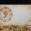 """""""Hölgy"""" ültetőkártya, Esküvő, Esküvői dekoráció, Meghívó, ültetőkártya, köszönőajándék, Egyedi készítésű ültetőkártya, melyet strukturált felületű kartonra nyomdázással (nem nyomtatással) ..., Meska"""